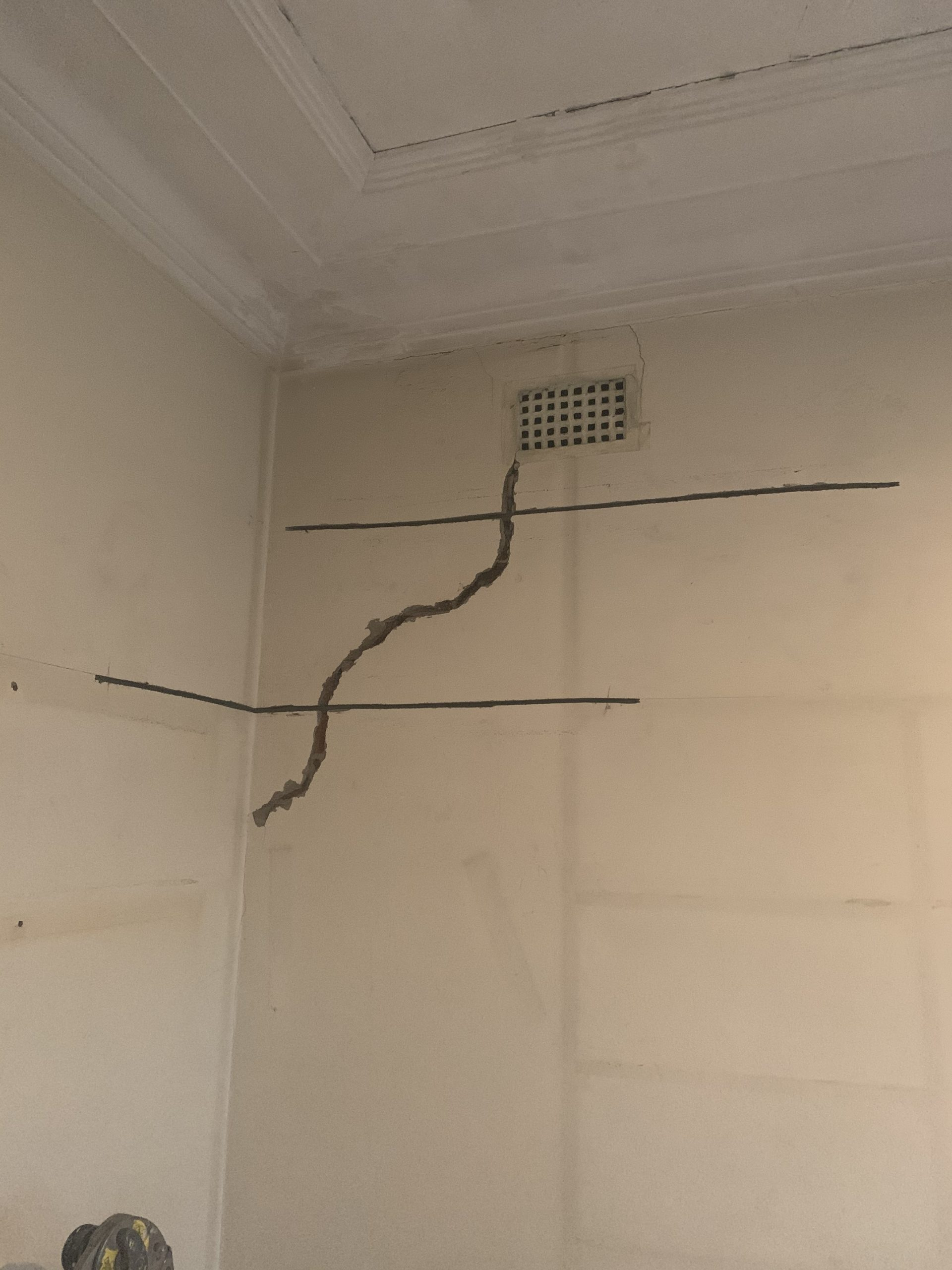 interior wall crack stitching